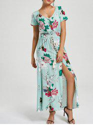 Floral Slit Button Up Maxi Ankle Length Dress