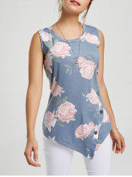 Asymmetric Floral Tunic Tank Top
