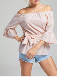 Flare Sleeve Off The Shoulder Peplum Top