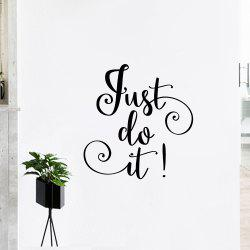 Letter Just Do It Inspirational Wall Sticker - BLACK