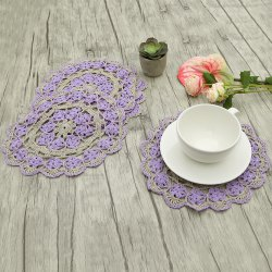 Hollow Out Round Shaped Flower Corchet Doilies - PURPLE