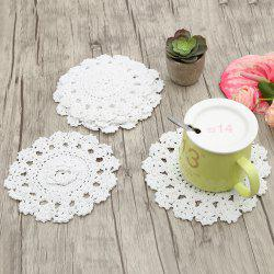 Round Flower Crochet Handmade Table Placemats  - WHITE