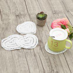 Vintage Heart Shape Lace Crochet Mini Doilies - WHITE