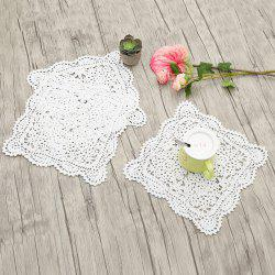 3pcs Square Handmade Crochet Cotton Lace Doilies  - WHITE