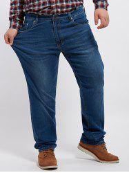 Grand prix Zip Fly Cuffed Jeans - Denim Bleu