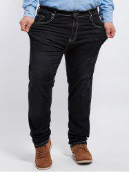 Plus Size Zip Fly Cuffed Jeans - BLACK 48