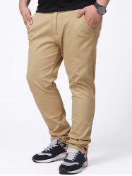 Zipper Fly Plus Size Chino Pants - Kaki