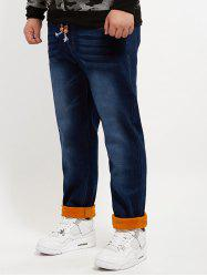 Letter Embroidered Pocket Plush Plus Size Jeans - DENIM BLUE