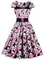 Vintage Plus Size Floral Tea Length Dress