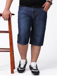 Plus Size Denim Shorts - CERULEAN