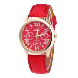 Roman Numeral Faux Leather Strap Quartz Watch