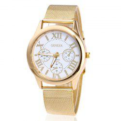 Roman Numeral Mesh Steel Strap Quartz Watch - WHITE