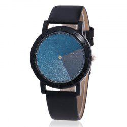 Faux Leather Strap Ombre Glitter Watch