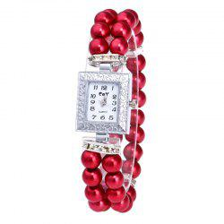 Rectangle Number Faux Pearl Bracelet Watch