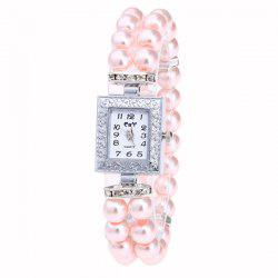 Rectangle Number Faux Pearl Bracelet Watch - PINK