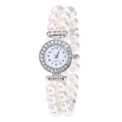 Rhinestone Number Faux Pearl Bracelet Watch - White