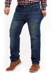Jeans Straight Leg Plus Size - Denim Bleu
