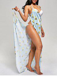 Pineapple Wrap Cover Up Maxi Dress - LIGHT BLUE S