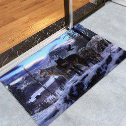 Coral Fleece Snow Wolf Door Entrance Bath Rug