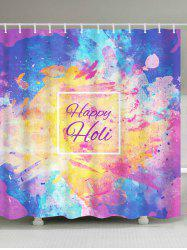 Waterproof Ink Painting Happy Holi Shower Curtain