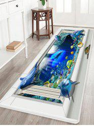 Sea Dolphin 3D Pattern Anti-skid Tapis de zone d'absorption d'eau - Multicolore