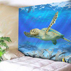 Animal Wall Hanging Microfiber Sea Turtle Tapestry - BLUE