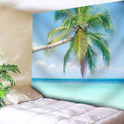 Coconut Palm Print Wall Hanging Microfiber Tapestry - BLUE