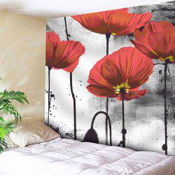 Ink Painting Wall Hanging Microfiber Flower Tapestry - Red - W51 Inch * L59 Inch