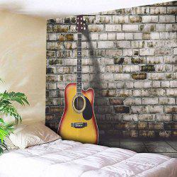 Guitar Brick Wall Hanging Microfiber Home Tapestry - GRAY
