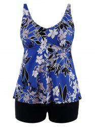 Padded High Waisted Floral Plus Size Bathing Suit - Blue - 5xl