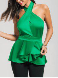 Cross Neck Backless Sleeveless Satin Peplum Top