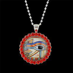 Rhinestoned Eye Round Pendant Necklace