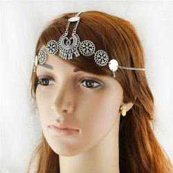 Alloy Floral Disc Gypsy Forehead Chain - SILVER
