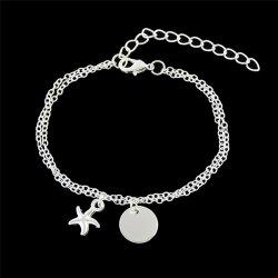 Starfish Disc Chain Charm Bracelet