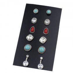 Faux Turquoise Gem Rhinestone Earring Set - Multicolore