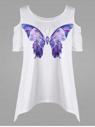 Butterfly 3D Print Open Shoulder Plus Size T-shirt