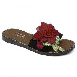 Flat Heel Embroidering Flower Slippers - BLACK