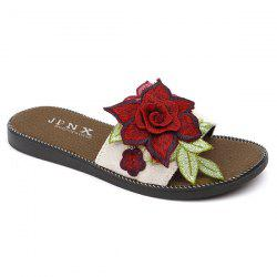 Flat Heel Embroidering Flower Slippers