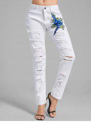 Floral Embroidered Applique Ripped Denim Pants - WHITE