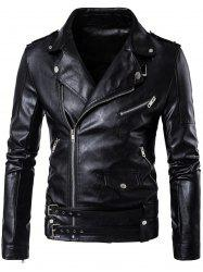 Belted Asymmetrical Zip Up Biker Jacket - BLACK