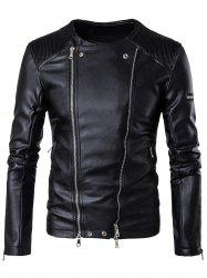 Collarless Convertible Zip Up Biker Jacket - BLACK