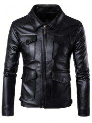 Zip Up Flap Pockets Faux Leather Jacket - BLACK