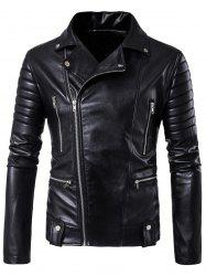 Multi Pockets Asymmetrical Zip Up Biker Jacket - BLACK