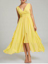 Empire Waist Chiffon Dress - Jaune