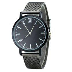 Minimalist Alloy Mesh Band Quartz Watch - Noir