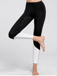 High Waist Color Block  Compression Leggings - BLACK
