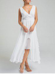 Empire Waist Chiffon Dress - Blanc M