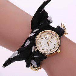 Rhinestone Number Polka Dot Fabric Bracelet Watch