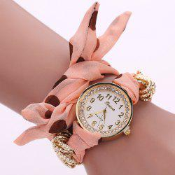 Rhinestone Number Polka Dot Fabric Bracelet Watch - ORANGEPINK