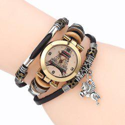Effiel Tower Face Number Charm Bracelet Watch